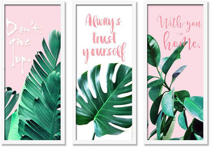 Motivational Floral's leaves Framed Painting / Posters for Room Decoration , Set of 3 White Frame Art Prints / Posters for Living Room