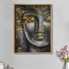 Load image into Gallery viewer, Buddha Face Theme Grey Gold Color 1 Framed Canvas Art Print, For Home & Office Decor