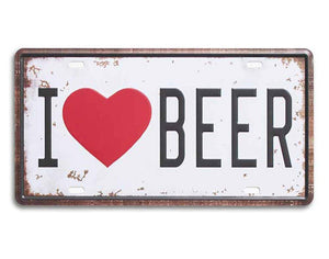 "I Love Beer Metal Tin Sign - Galvanized Iron With Printed, For Bar & Restores Decor Size- 6"" x 12"" Inch"