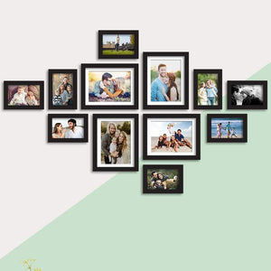 Set Of 12 Black Wall Photo Frame, For Home Decor With Free Hanging Accessories