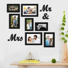 Load image into Gallery viewer, Set Of 7 Black Wall Photo Frame, With Mr & Mrs MDF Plaque For Home Decor And Free Hanging Accessories