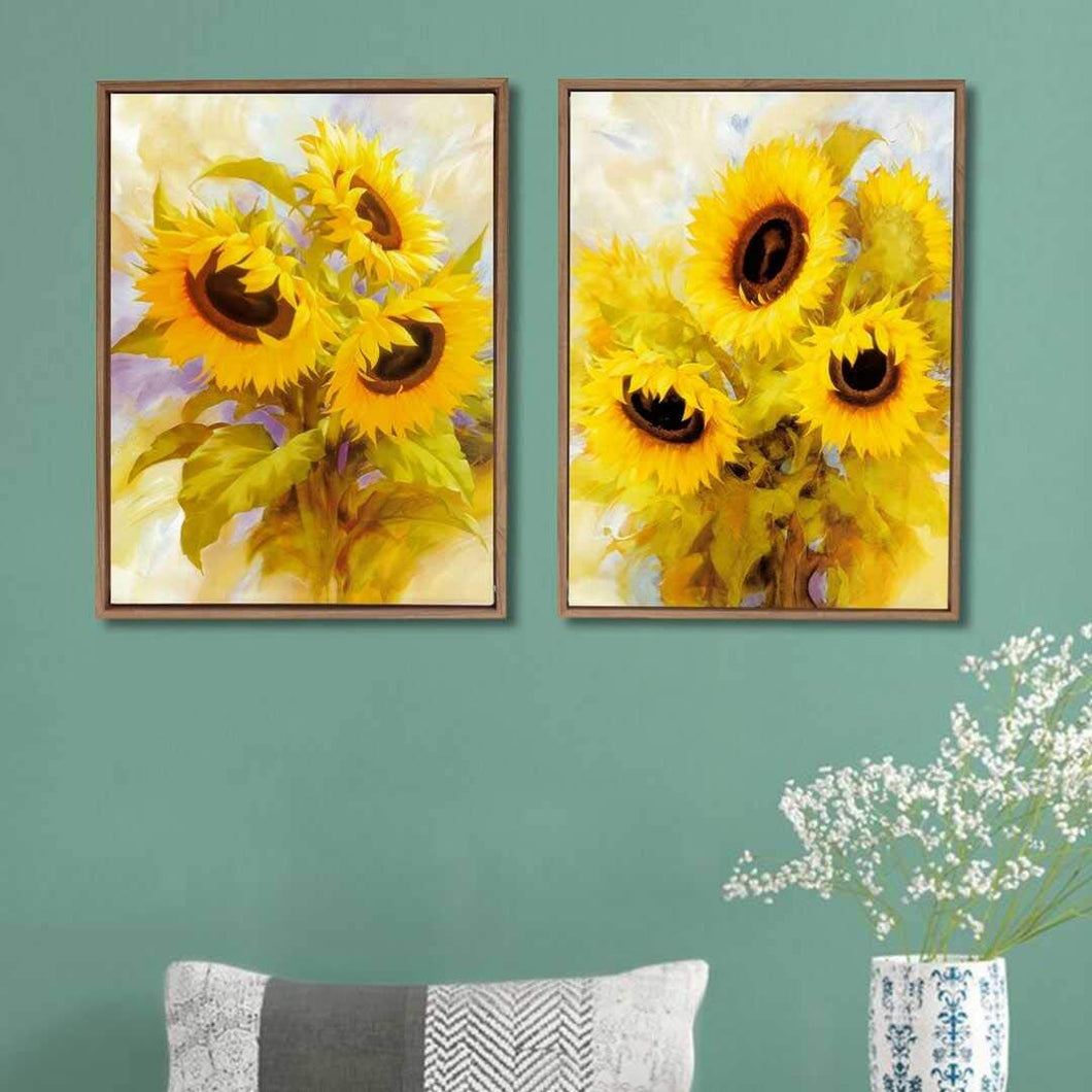 Yellow Sunflower Theme Framed Canvas Art Print, For Home & Office Decor