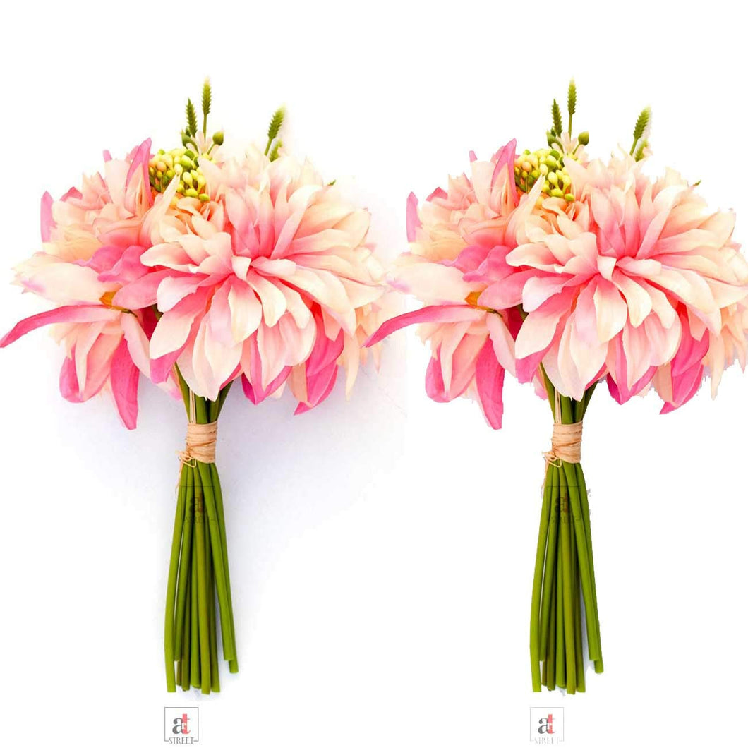 Set Of 2 Artificial 11 Stick White & Pink Beautiful Flowers With Stem
