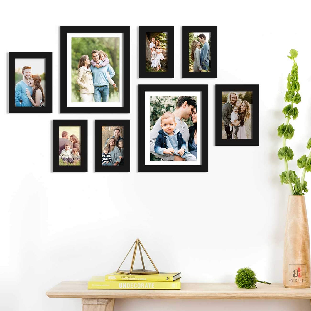 Set Of 8 Individual Black Wall Photo Frame, For Home Decor With Free Hanging Accessories