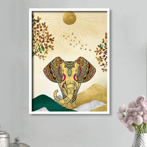 Artistic Elephant Theme Multicolored Canvas Art Print, For Home & Office Decor