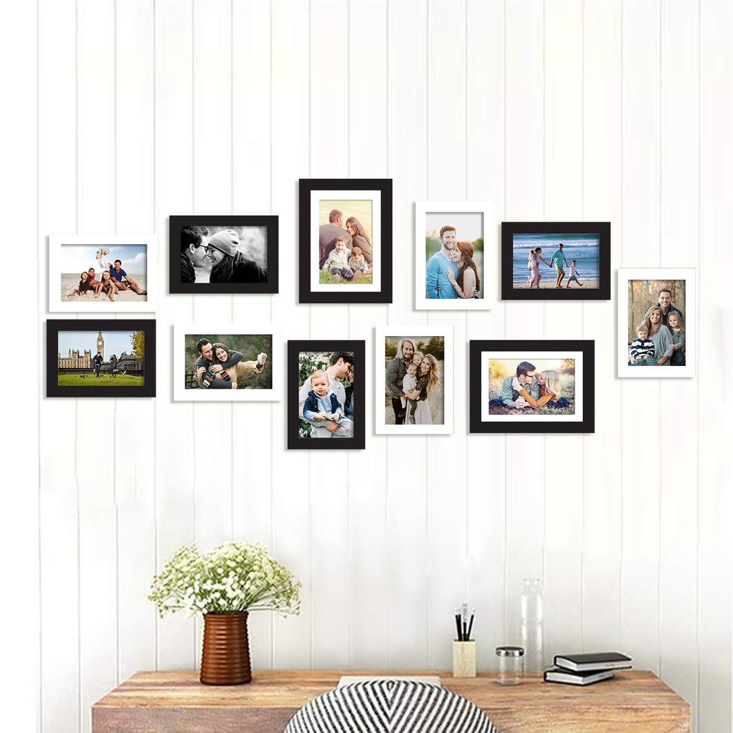 Set f 11 Black & White Wall Photo Frame, For Home Decor With Free Hanging Accessories