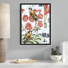 Load image into Gallery viewer, Bird Floral Theme Framed Canvas Art Print, Painting Multicolored - 13 x 17 Inch