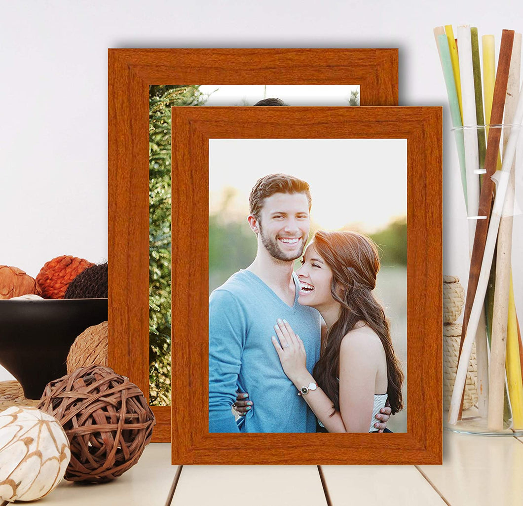 Set Of 2 Table Top Photo Frames Perfect For Office & Home Table Decor - Brown MDF