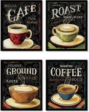 Load image into Gallery viewer, Coffee Launge Framed Posters for Kitchen / Living Room ,Coffee Theme art prints for home decoration set of 4 (9x 11 Inches)