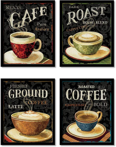 Coffee Launge Framed Posters for Kitchen / Living Room ,Coffee Theme art prints for home decoration set of 4 (9x 11 Inches)