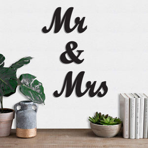 Mr. & Mrs. MDF Plaque Painted Cutout Ready To Hang For Wall Decor Size 5.5 x 11.7 Inch