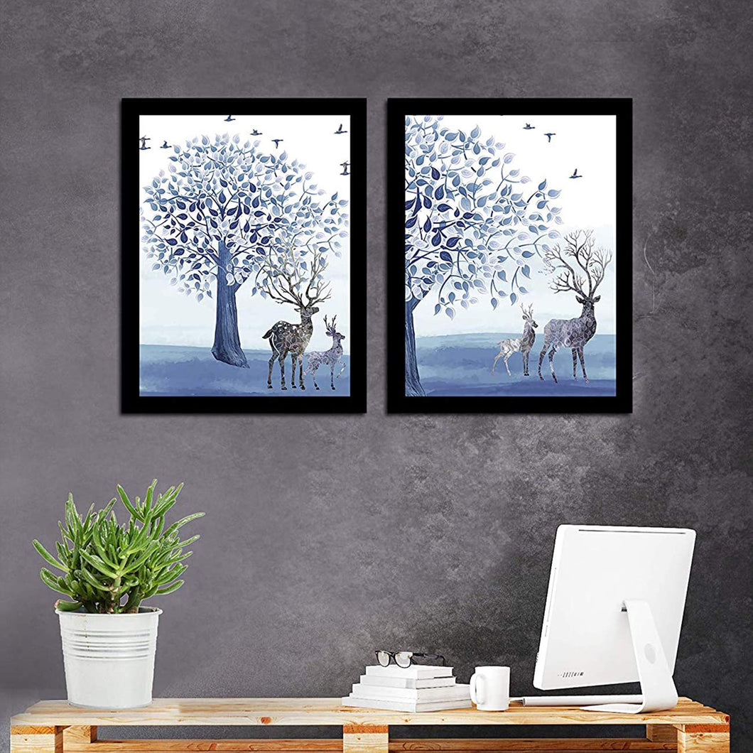 Beautiful Deer Theme Printed Set Of 2 Framed Art Print Size - 13.5