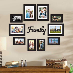 Set Of 10 Black Wall Photo Frame, For Home Decor With Family MDF Plaque With Free Hanging Accessories