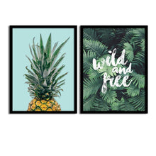 Load image into Gallery viewer, Art Street Set Of 2 Green Pineapple/Tropical Matte Art Print, Framed Art Print For Home Decor