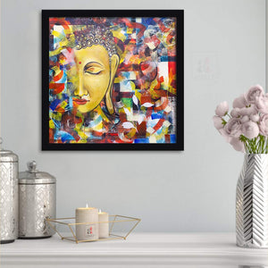Buddha Framed Painting, 1 Framed Art Print For Wall Decor Size - 13 x 13 Inch