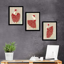 Load image into Gallery viewer, Beautiful Dancing Lady Theme Printed Set Of 3 Wall Art Print Size - 12 X 16 Inch