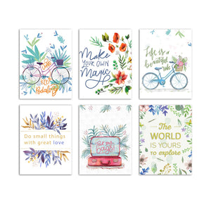 Set Of 6 Beautiful Floral Theme Wall Poster For Home Decor Size - 12 x 16 Inch