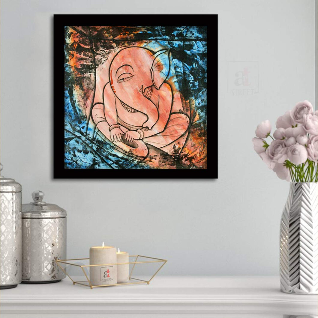 Sri Ganesha Framed Painting, 1 Framed Art Print For Wall Decor Size - 13 x 13 Inch