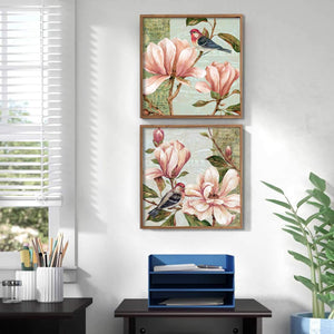 Floral Theme Set Of 2 Framed Canvas Art Print, Painting - Multicolored, Size 13 x 13 Inch