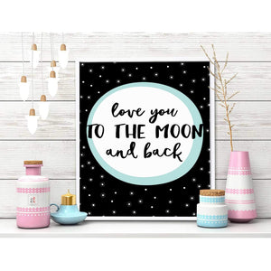 Love You The Moon and Back Theme Framed Canvas Art Print, Painting -11 x 13 inch