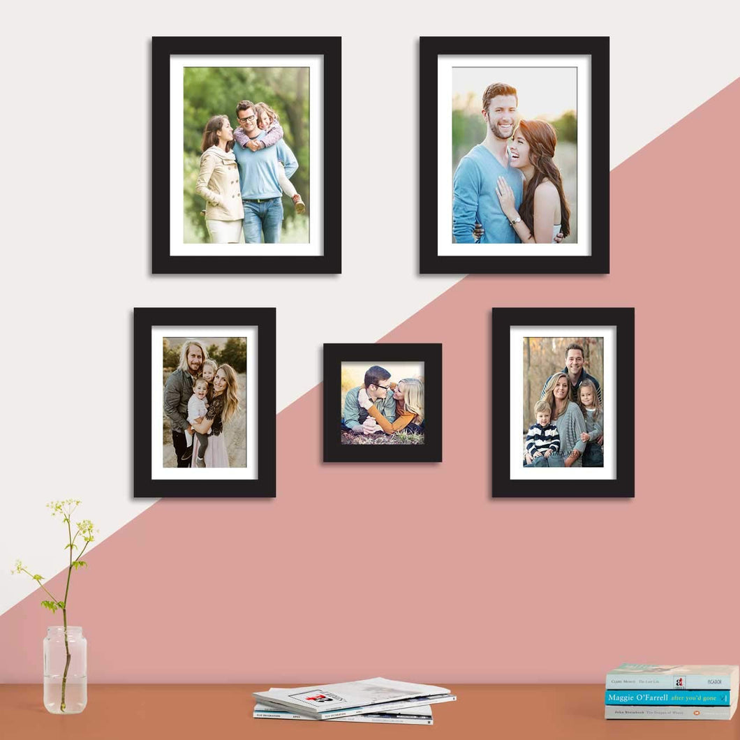 Set Of 5 Black Wall Photo Frame, For Home Decor With Free Hanging Accessories