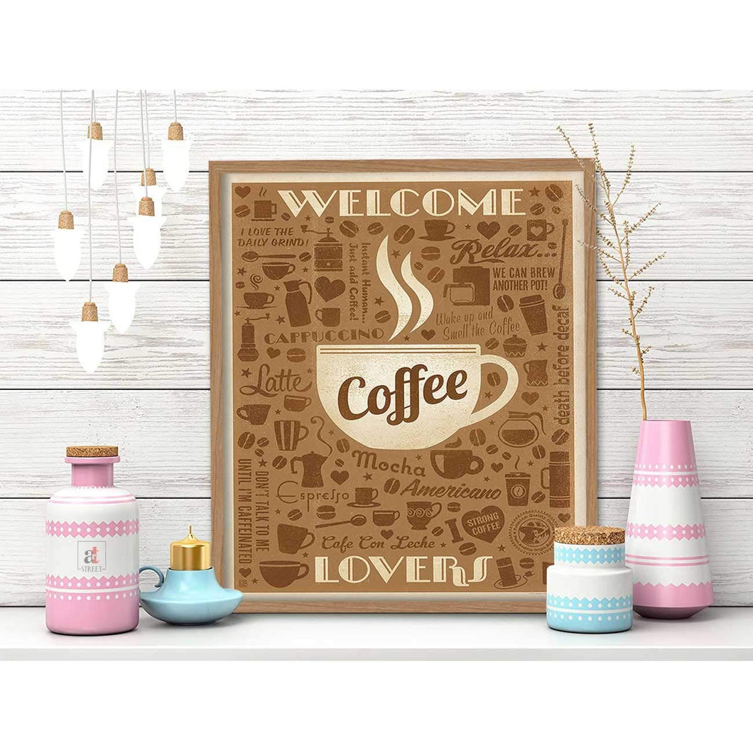 Coffee Theme Framed Canvas Art Print, Painting Size - 11 x 13 Inch