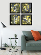 Load image into Gallery viewer, Yellow Bloom Set Of 4 Black Framed Art Prints Size - 9 x 9 Inch