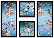 Load image into Gallery viewer, Birds & Flowers Framed Painting / Posters for Room Decoration , Set of 4 Black Frame Art Prints / Posters for Living Room