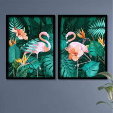 Load image into Gallery viewer, Beautiful Flamingo Theme Turquoise Blue Framed Canvas Art Print, For Home & Office Decor