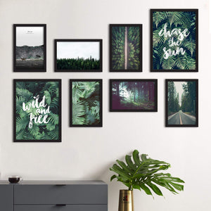 Set Of 8 Framed Poster Art Print -Green -Forest Grump, For Home & Office Decor