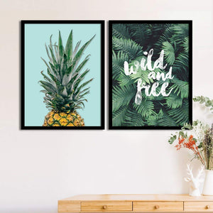 Art Street Set Of 2 Green Pineapple/Tropical Matte Art Print, Framed Art Print For Home Decor