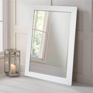 Marble Finish Wall Decorative Mirror For Home And Bathroom - 12 x 18 Inch, Color -White