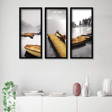 Load image into Gallery viewer, Landscape Nature Framed Painting / Posters for Room Decoration , Set of 3 Black Frame Art Prints / Posters for Living Room
