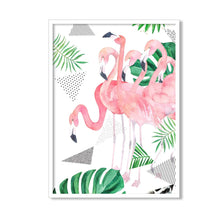 Load image into Gallery viewer, Flamingo Framed Canvas Art Print, Painting, Pink & Green, Size - 13 x 17 Inch