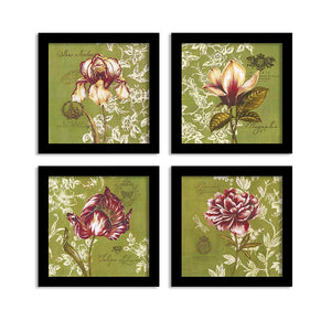 Purple Bloom Set Of 4 Black Framed Art Prints Size - 9 x 9 Inch