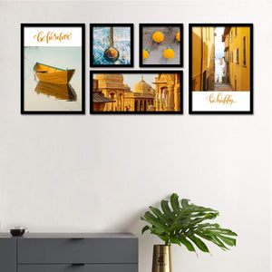 Set Of 5 Framed Poster Art Print -Travel Diaries -Multicolored, For Home & Office Decor