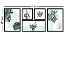 Load image into Gallery viewer, Set Of 5 Framed Poster Art Print -Monstera Leaf - Plants Art Print -Multicolored, Art Print For Living Room