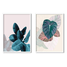 Load image into Gallery viewer, Floral Theme Set Of 2 Framed Canvas Art Print, Painting - 13 x 17 Inch