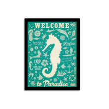 "Load image into Gallery viewer, # Welcome To Paradise Holiday Theme Framed Art Print Size - 13.5"" x 17.5"" Inch"