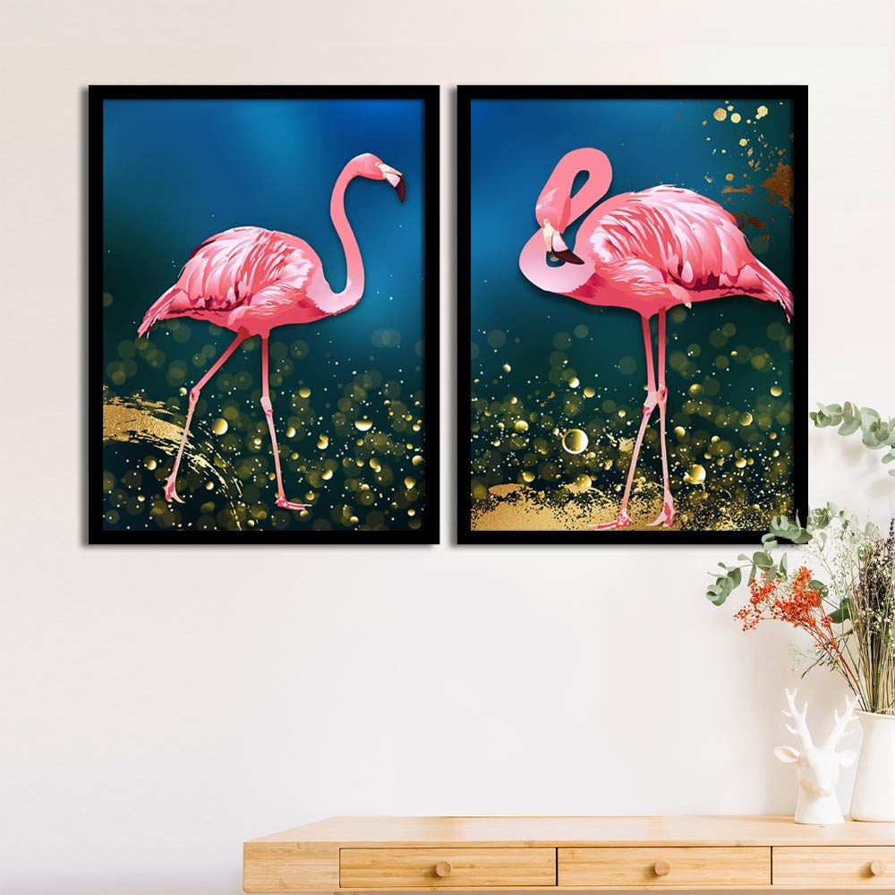 Art Street Set Of 2 Pink Flamingo Matte Art Print, Framed Art Print For Home Decor