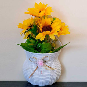Artificial Sun Flower Plant Set of 2  With Pot For Wall Hanging.