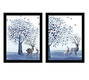 "Beautiful Deer Theme Printed Set Of 2 Framed Art Print Size - 13.5"" x 17.5"" Inch"
