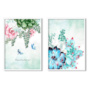Floral Theme Set Of 2 Framed Canvas Art Print, Painting Size - 13 x 17 Inch