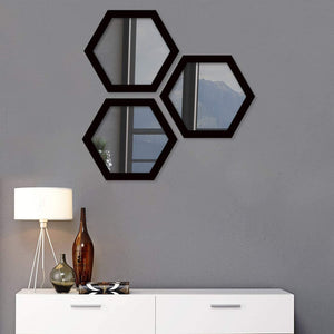 Decorative Wall Mirror White Set of 3 Hexagon Shape for Home Decoration & Wall Decoration, Size-12.7x11 Inches