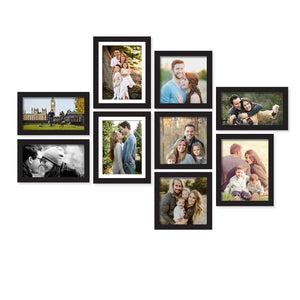 Set of 9 Individual Wall Photo Frame, For Home Decor With Free Hanging Accessories