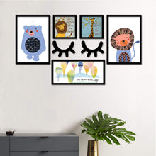 Load image into Gallery viewer, Set Of 5 Framed Poster Art Print -Tiger And Bear - Kids Room Art Print - With MDF Sleeping Eyes -Multicolored