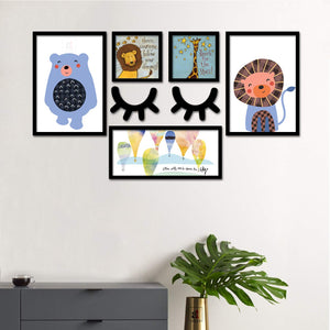 Set Of 5 Framed Poster Art Print -Tiger And Bear - Kids Room Art Print - With MDF Sleeping Eyes -Multicolored