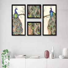 Load image into Gallery viewer, Beautiful Peacock Framed Painting / Posters for Room Decoration , Set of 4 Black Frame Art Prints / Posters for Living Room