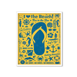 Beach Theme Framed Canvas Art Print, Painting Size -11 x 13 Inch