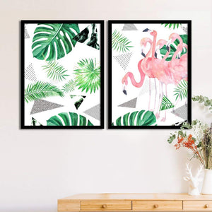 Art Street Set Of 2 Tropical Flamingo Matte Art Print, Framed Art Print For Home Decor